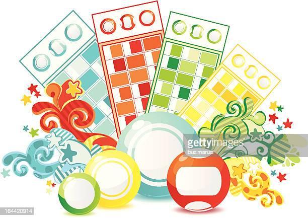 beautiful composition lotto - bingo balls stock illustrations