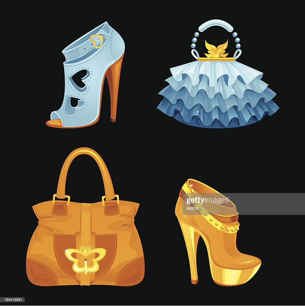 Beautiful designer female shoes and bags