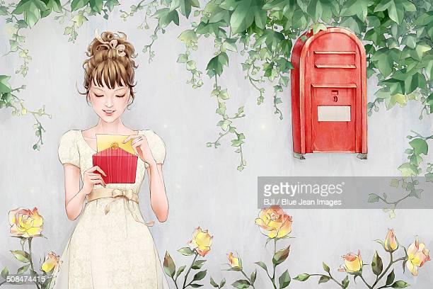 beautiful girl reading letter - beautiful woman stock illustrations