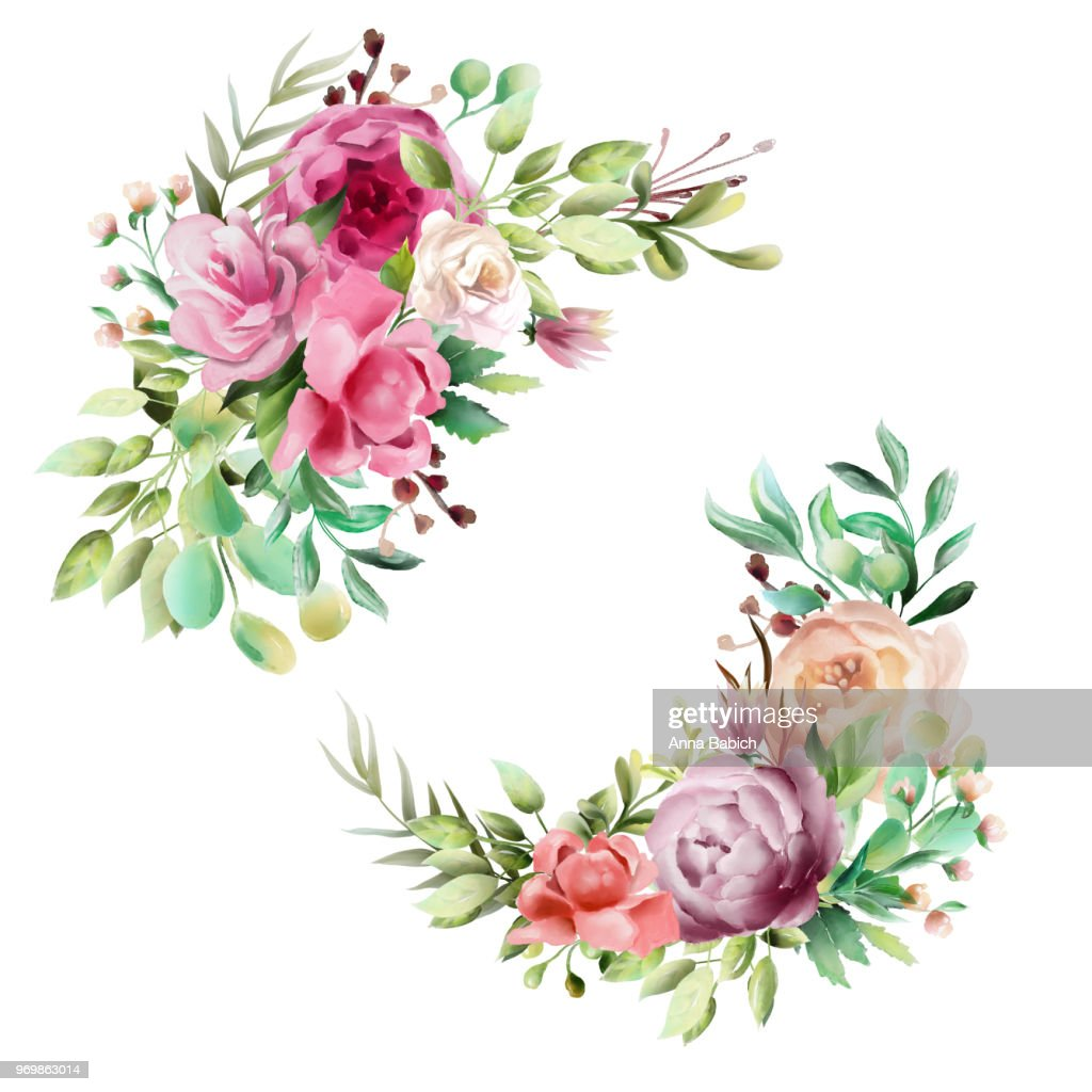 Beautiful Watercolor Floral Bouquet Whimsical Flowers Wreath Frame