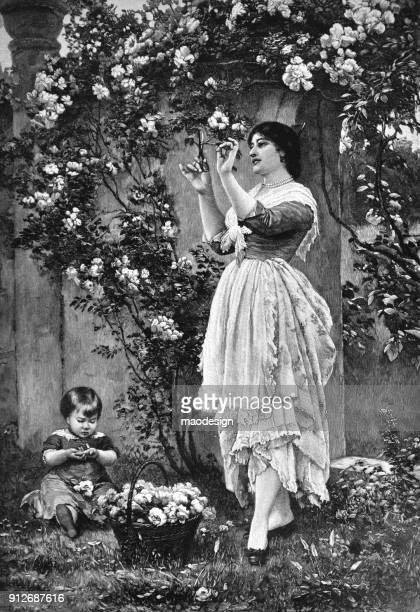 beautiful woman with a child cuts flowers from a tree to a basket - 1896 - 1896 stock illustrations, clip art, cartoons, & icons