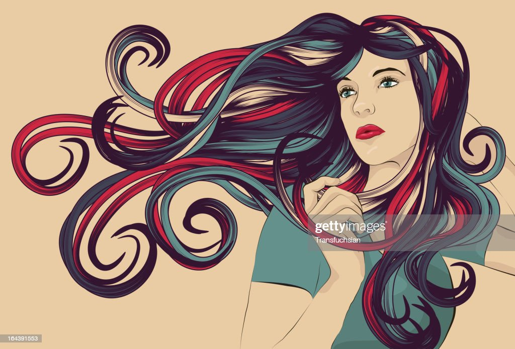 Beautiful Woman With Detailed Colorful Hair Vector Art Getty Images