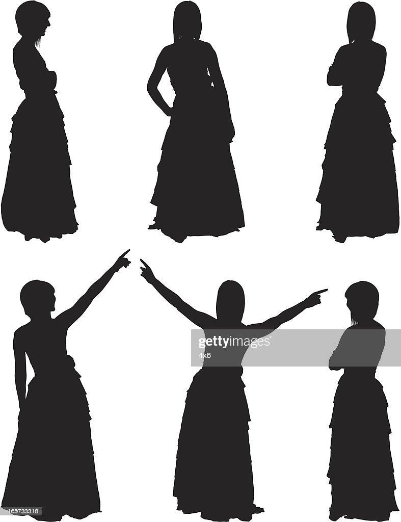 Schöne Frau in Abendkleider : Stock-Illustration