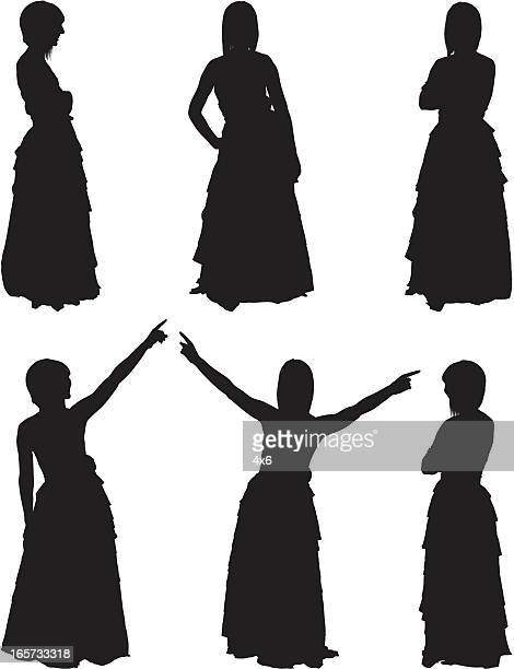 beautiful women in evening gowns - image technique stock illustrations