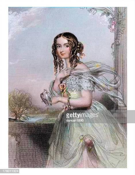beautiful young victoorian woman - mockingbird stock illustrations, clip art, cartoons, & icons