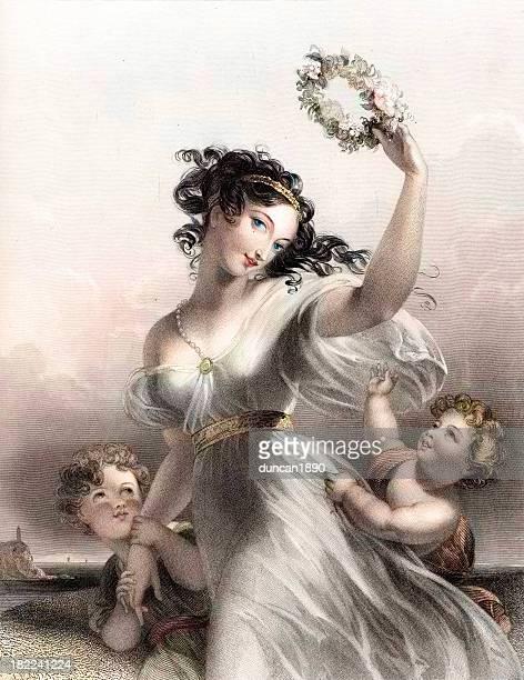 schöne junge viktorianische frau-hoffnung - kunst, kultur und unterhaltung stock-grafiken, -clipart, -cartoons und -symbole