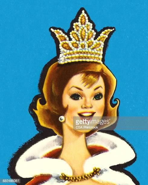 ilustraciones, imágenes clip art, dibujos animados e iconos de stock de certamen de belleza con cama queen - reina de belleza