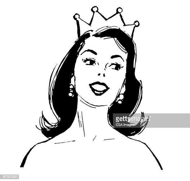 ilustraciones, imágenes clip art, dibujos animados e iconos de stock de beauty queen - reina de belleza