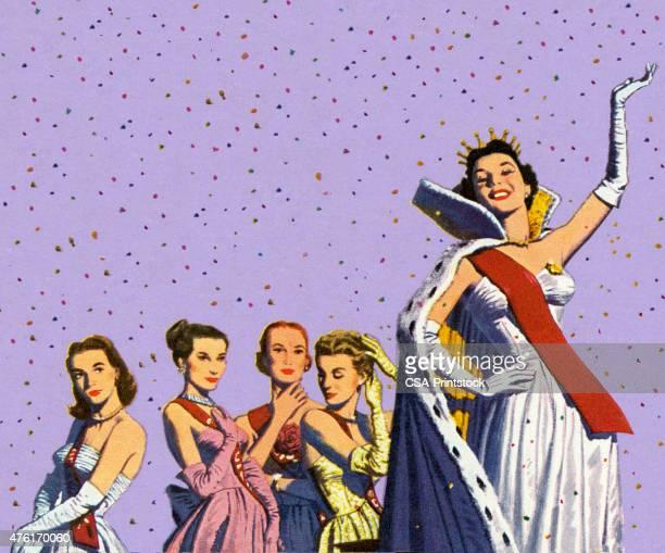 ilustraciones, imágenes clip art, dibujos animados e iconos de stock de beauty queen saludar con la mano - reina de belleza