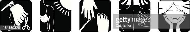 beauty salon icons - toe stock illustrations, clip art, cartoons, & icons