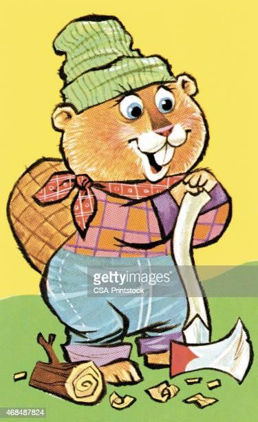 beaver - hatchet stock illustrations, clip art, cartoons, & icons