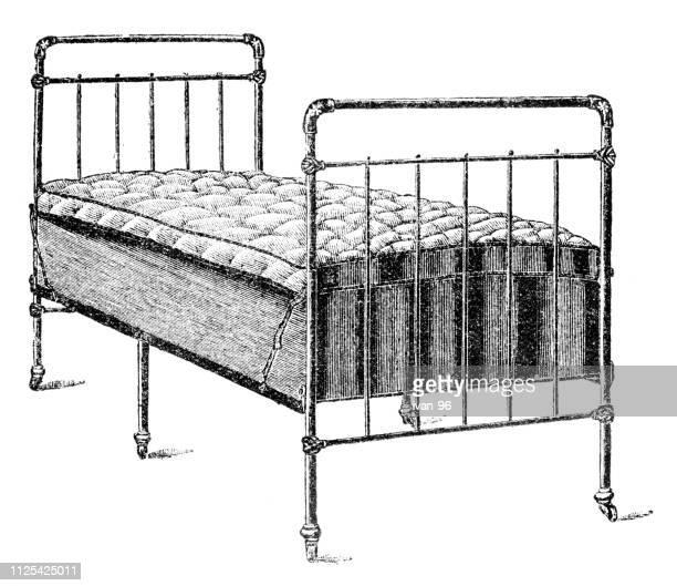 bed - illustration - mattress stock illustrations, clip art, cartoons, & icons