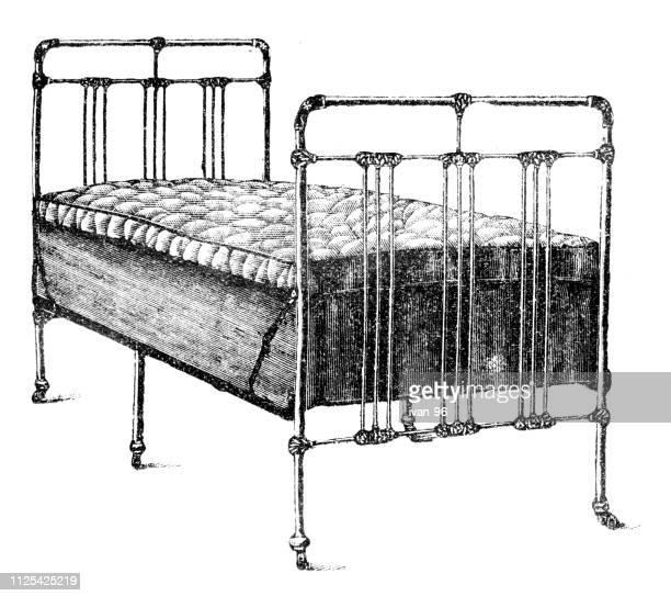 bed - illustration - antique stock illustrations, clip art, cartoons, & icons