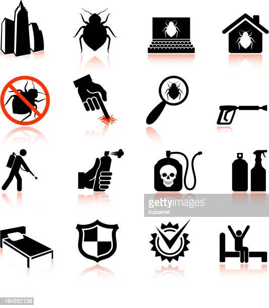 Bedbug epidemic and extermination black & white vector icon set