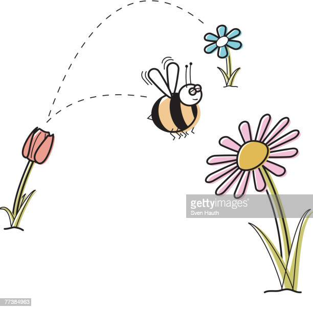 a bee collecting honey from one flower after another - worker bee stock illustrations