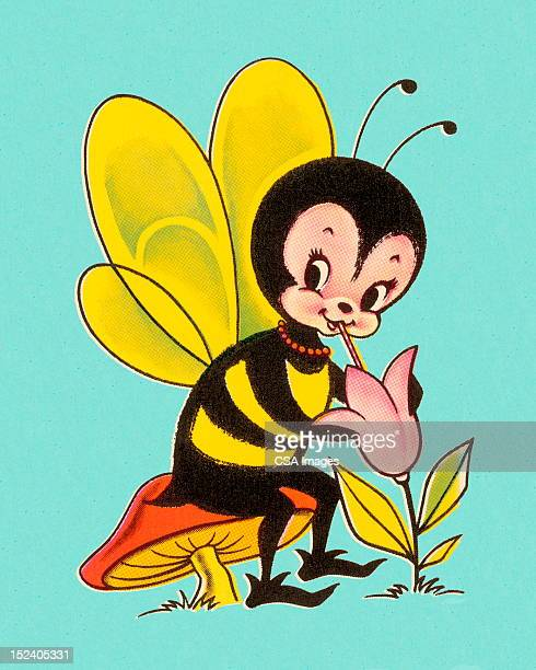 bee holding flower - bumblebee stock illustrations, clip art, cartoons, & icons