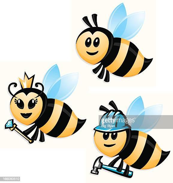 bee set - queen bee stock illustrations
