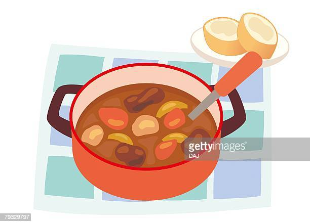 beef stew, close-up, illustration - beef stew stock illustrations, clip art, cartoons, & icons