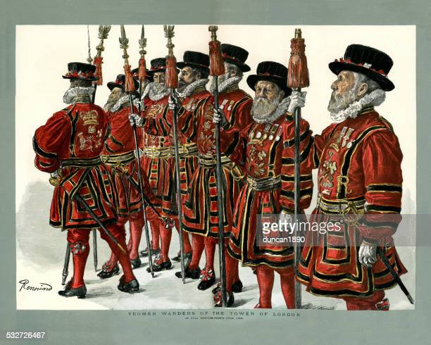 beefeaters from the tower of london - tower of london stock illustrations