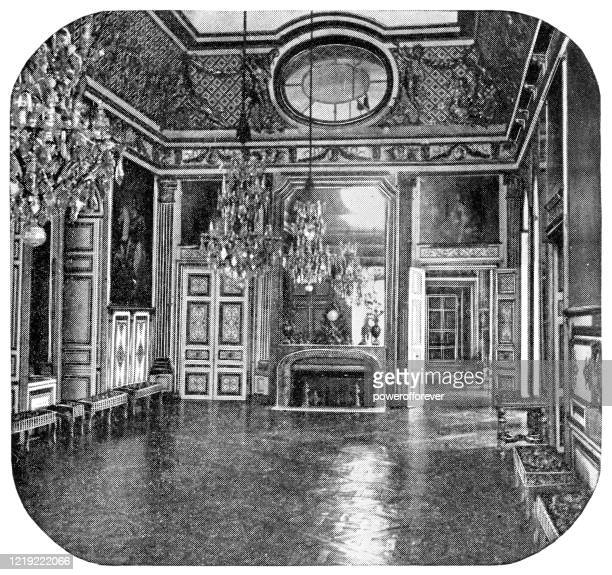 beef-eye salon at the chateau de versailles in versailles, france - 19th century - chateau de versailles stock illustrations