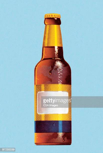 beer bottle with blank label - beer alcohol stock illustrations, clip art, cartoons, & icons