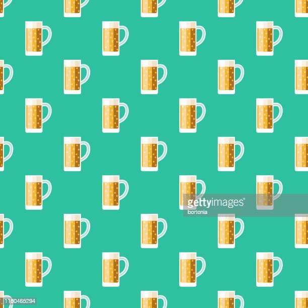 beer oktoberfest pattern - lager stock illustrations, clip art, cartoons, & icons