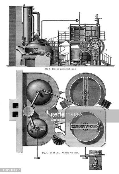 beer production in brewhouse illustration 1896 - carbonated stock illustrations, clip art, cartoons, & icons