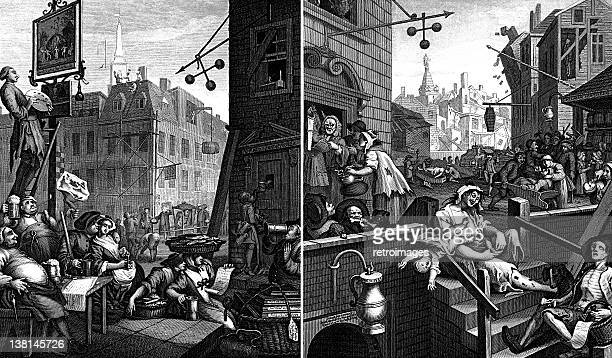 beer street and gin lane, georgian illustrations by william hogarth - gin stock illustrations, clip art, cartoons, & icons