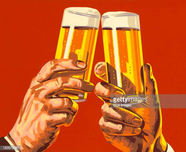 beer toast - beer alcohol stock illustrations, clip art, cartoons, & icons