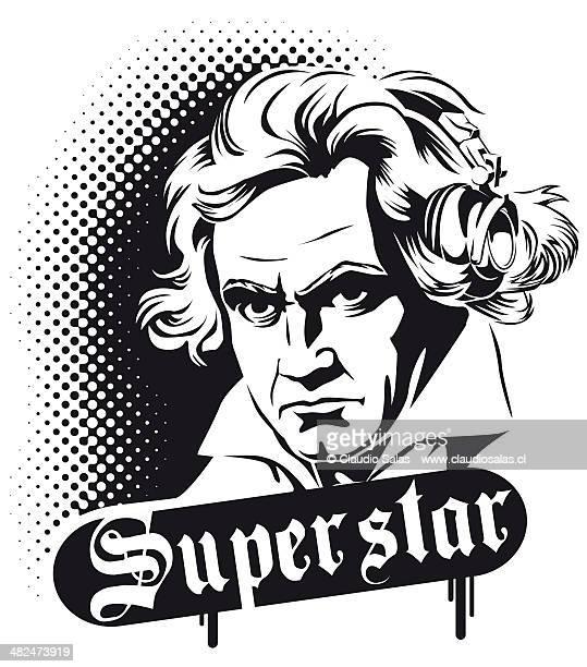 ilustraciones, imágenes clip art, dibujos animados e iconos de stock de beethoven superstar - ludwig van beethoven