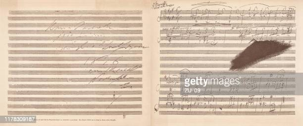 beethoven's a major sonata, facsimile, published in 1885 - composition stock illustrations