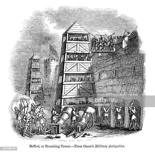 illustrazioni stock, clip art, cartoni animati e icone di tendenza di beffroi o belfry assedio tower - attaccante