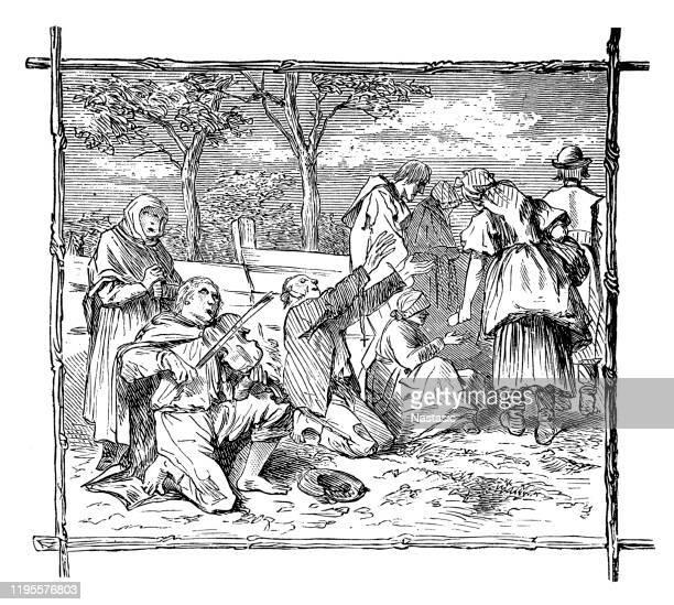 beggars - cartoon hobo stock illustrations
