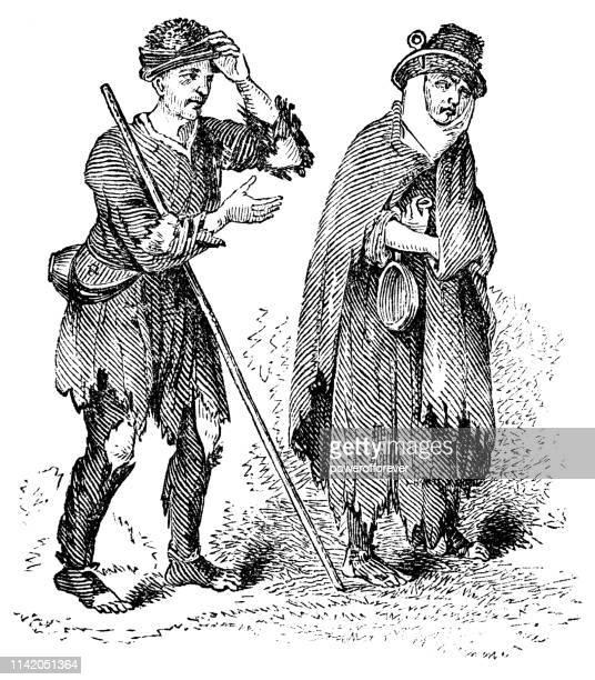 beggar/vagrant fashion of the 16th century - 16th century stock illustrations