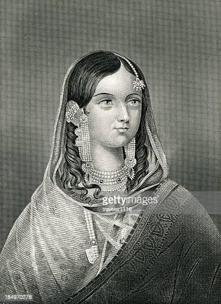 begum zeenat mahal - mughal empire stock illustrations