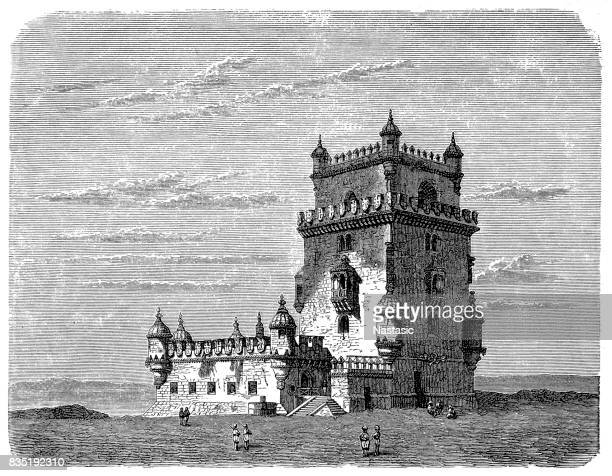 belem tower - iberian peninsula stock illustrations, clip art, cartoons, & icons