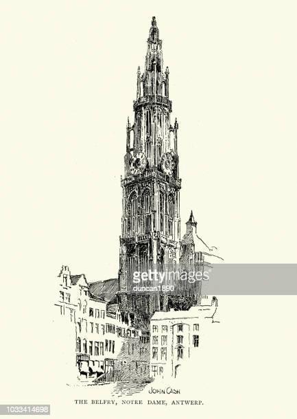 ilustrações, clipart, desenhos animados e ícones de campanário de notre dame, antuérpia, século xix - spire