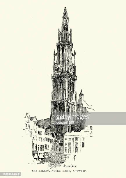 belfry of notre dame, antwerp, 19th century - spire stock illustrations, clip art, cartoons, & icons
