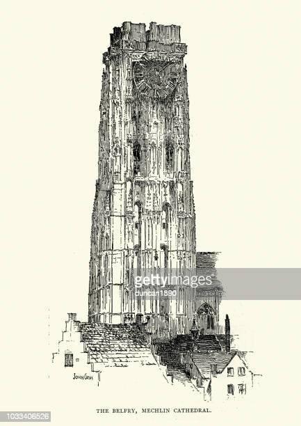 19 世紀ベルギーのメヘレンの聖 rumbold の大聖堂の鐘楼 - メッヘレン点のイラスト素材/クリップアート素材/マンガ素材/アイコン素材