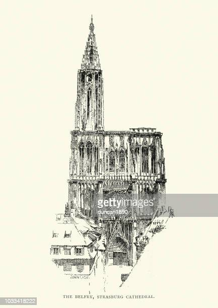 belfry of strasbourg cathedral, 19th century - spire stock illustrations, clip art, cartoons, & icons