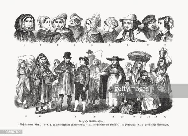 belgische volkstrachten, holzstiche, erschienen 1893 - belgische kultur stock-grafiken, -clipart, -cartoons und -symbole