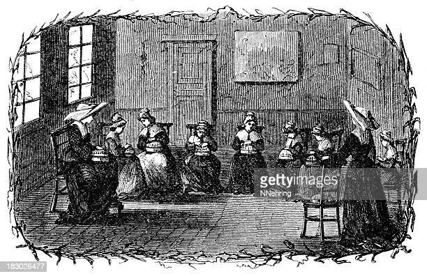 belgian lace school engraving - lacemaking stock illustrations