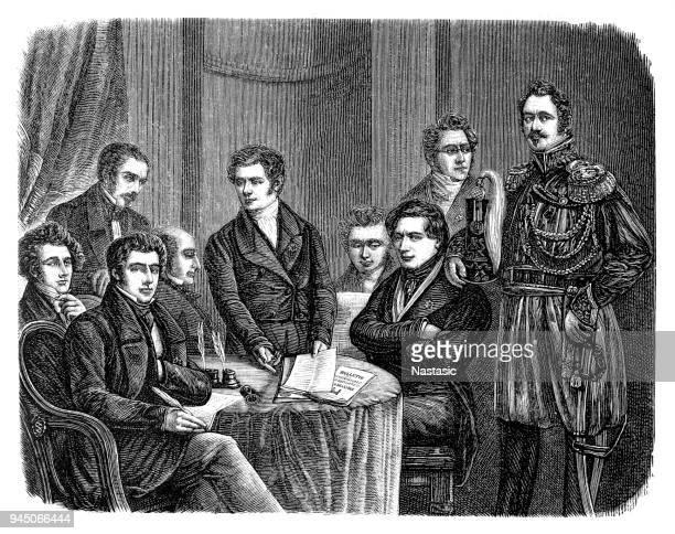 ilustrações, clipart, desenhos animados e ícones de revolução belga de 1830-1831, revolução de setembro, o governo provisório de 23.9.1830 - província de antuérpia bélgica