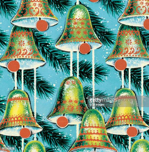 bell christmas ornaments - old fashioned stock illustrations