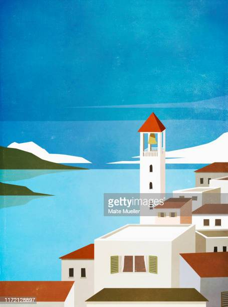 bell tower above village buildings at waterfront - village stock illustrations