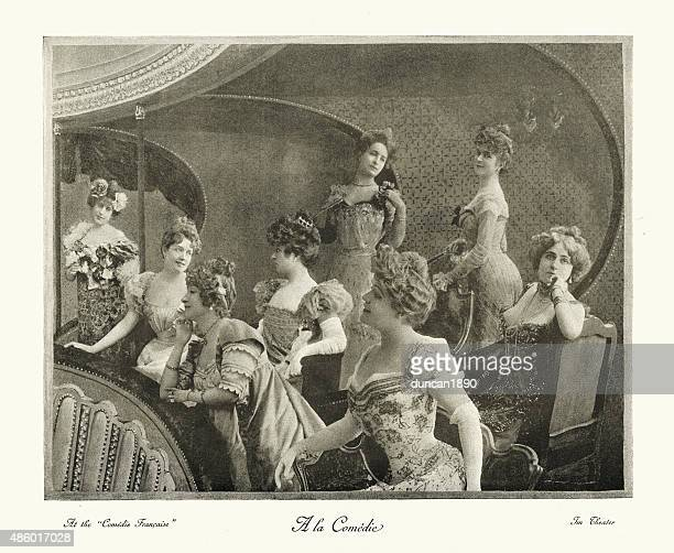 illustrazioni stock, clip art, cartoni animati e icone di tendenza di belle époque presso la comedie francaise 1890 - persona attraente