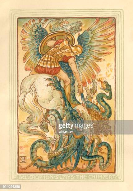 bellerophon slays the chimera - greek mythology - greek mythology stock illustrations