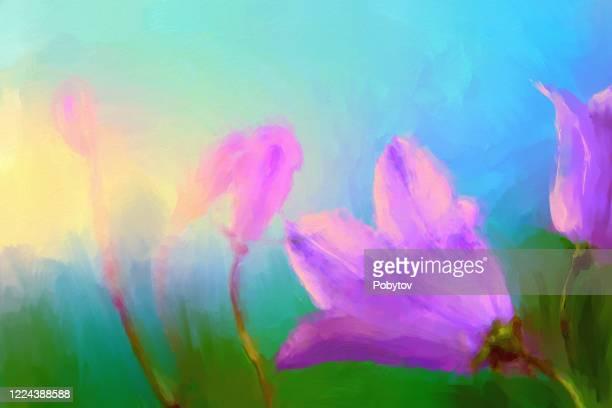 bellflowers - flower part stock illustrations
