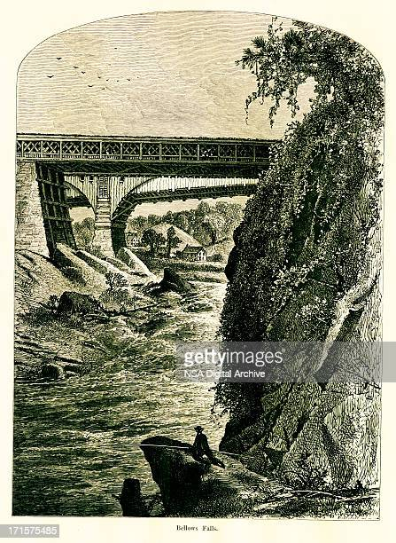bellows falls, vermont, wood engraving (1872) - connecticut river stock illustrations, clip art, cartoons, & icons
