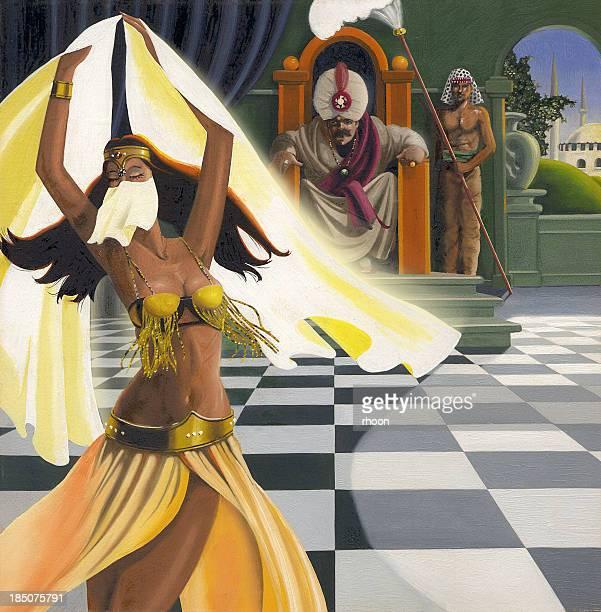 belly dancer - sultan stock illustrations